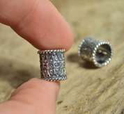 VIKING BEARD RING, STERLING SILVER - FILIGREE AND GRANULATED REPLICA JEWELS