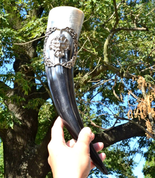 DRINKING HORN WITH A GREEN MAN - HORNS WITH TIN