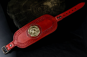 GLADIATOR - LION'S HEAD, LEATHER BRACELET, RED - WRISTBANDS
