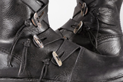 VARYAG, LATHER VIKING HIGH SHOES, BLACK - VIKING, SLAVIC BOOTS