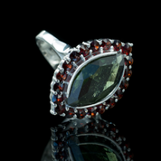 CAMBRIA, CZECH MOLDAVITE, GARNET, SILVER RING - MOLDAVITES, CZECH JEWELS