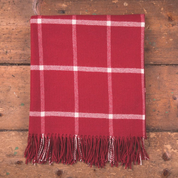 RED & WHITE WINDOWPANE THROW, LAMBS WOOL BLANKET - WOOLEN BLANKETS AND SCARVES, IRELAND