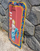 HAND PAINTED PAVISE, LONG WOODEN SHIELD JUSTICE - PAINTED SHIELDS