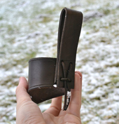 DRINKING HORN HOLDER, LEATHER, BROWN - DRINKING HORNS