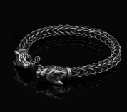 FENRIR, WOLF, STERLING SILVER BRACELET - VIKING KNIT - PENDANTS - HISTORICAL JEWELRY