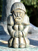 DOMOVOI, SLAVIC GUARDIAN OF YOUR HOME, STATUE, GREEN-GOLD - SLAVIC STATUES, BOHEMIA, MORAVIA