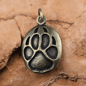 WOLF TRACK, PENDANT, ZINC, ANT. BRASS - ANIMAL PENDANTS