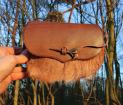 BELT BAG WITH BOAR FUR AND FORGED NEEDLE - BAGS, SPORRANS