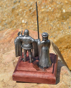 PAIR OF BURGUNDY, HISTORICAL TIN STATUE - PEWTER FIGURES