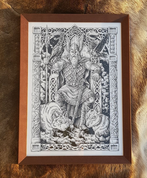 ODIN ON THE THRONE, FRAMED PICTURE - PICTURES