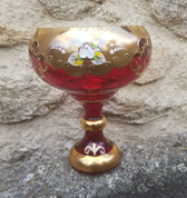 FELICIA - GOBLET, CZECH GLASS, HIGH ENAMEL - HISTORICAL GLASS
