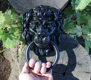 LION, MEDIEVAL DOOR KNOCKER - ANTLER FURNITURE, LAMPS
