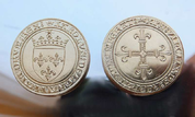 ECU OF CHARLES VIII, A REPLICA OF A FRENCH BRASS COIN - MEDIEVAL AND RENAISSANCE COINS