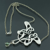 ART NOUVEAU, SILVER NECKLACE, MOLDAVITE - MOLDAVITES, CZECH JEWELS