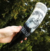VIKING RAVEN, CARVED DRINKING HORN - DRINKING HORNS