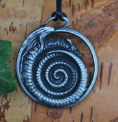 OUROBOROS, DRAGON, TIN PENDANT - DRAGON FANTASY AMULETS