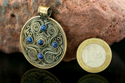 BATTERSEA, LUXURY BRYTHONIC JEWEL, LAPIS LAZULI, BRONZE - BRONZE HISTORICAL JEWELS