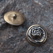 ROSE, BUTTON, BRONZE - COSTUME BROOCHES, FIBULAE
