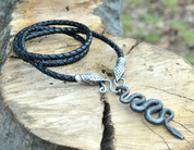 BLACK SNAKE, FORGED PENDANT, LEATHER BOLO - CELTIC PENDANTS