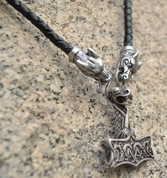 OSEBERG, THOR HAMMER, BRAIDED LEATHER NECKLACE - VIKING PENDANTS