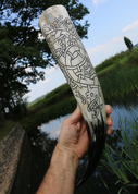 RINGERIKE - DRAGON, CARVED DRINKING HORN - DRINKING HORNS