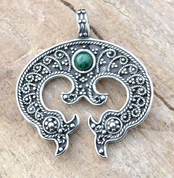 LUNULA, WOMEN'S EARLY MEDIEVAL PENDANT, AG 925 - FILIGREE AND GRANULATED REPLICA JEWELS