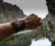 BOHEMIAN LION, BLACK, RED, LEATHER BRACELET - WRISTBANDS
