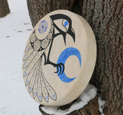 CELTIC CROW, SHAMANIC FRAME DRUM 40 CM - DRUMS, FLUTES