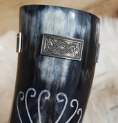 CORVUS CROW, CARVED DRINKING HORN - 0.3 L TIN - DRINKING HORNS