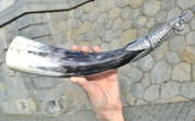 VIKING DRINKING HORN, NINIAN'S ISLE, SHETLANDS, 0.3 L - HORNS WITH TIN