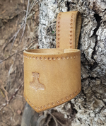 THOR'S HAMMER, LEATHER DRINKING HORN HOLDER, BROWN - DRINKING HORNS
