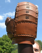 LEATHER GAUNTLET FOR SWORD FIGHT, LEFT HAND - LEATHER ARMOUR/GLOVES