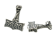 THOR'S HAMMER, OSEBERG STYLE, NORWAY, SILVER 925 - FILIGREE AND GRANULATED REPLICA JEWELS