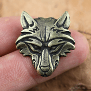 VUK, WOLF HEAD PENDANT, ZINC, ANT. BRASS - VIKING PENDANTS