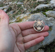 WOLF'S HEAD IN A RING, BRONZE PENDANT - ANIMAL PENDANTS