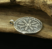 AEGISHJALMUR, HELM OF AWE, MAGICAL RUNE MEDALLION, SILVER - PENDANTS - HISTORICAL JEWELRY