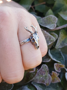 DEER - SKULL, RING SILVER - RINGS - HISTORICAL JEWELRY