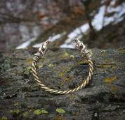 HUGINN AND MUNINN, VIKING BRACELET, BRASS - VIKING, SLAVIC, CELTIC BRACELETS - BRONZE AND BRASS