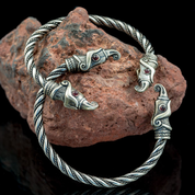HUGINN AND MUNINN, VIKING BRACELET, SILVER - BRACELETS - HISTORICAL JEWELRY