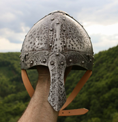 NORMAN HELMET WITH DECORATED NASAL, PATINA - CASQUES VIKINGS ET À NASALE