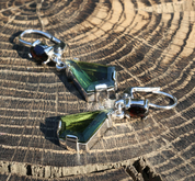 RHONDA, SILVER EARRINGS, MOLDAVITE, GARNET - MOLDAVITES, CZECH JEWELS
