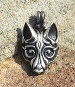 VIKING WOLF HEAD, SILVERED PENDANT BY WULFLUND - VIKING PENDANTS