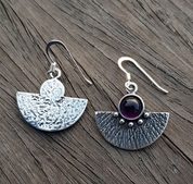 AZTEC, SILVER EARRINGS, AMETHYST - MYSTICA SILVER COLLECTION - EARRINGS