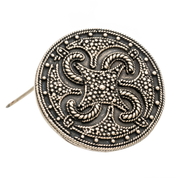 VIKING SWASTIKA THUMBY-BIENEBEK, BROOCH, BRONZE - REPLICA - COSTUME BROOCHES, FIBULAE