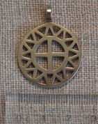 SUN AND CROSS, BRONZE PENDANT - PENDANTS, NECKLACES