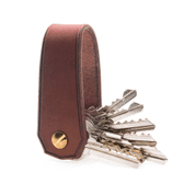 BALFOUR, LUXURY LEATHER KEYCHAIN COGNAC - WALLETS