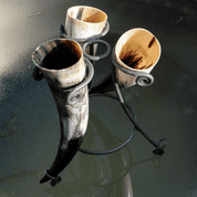 SET OF 3 HORNS AND STAND 0.5 L - DRINKING HORNS