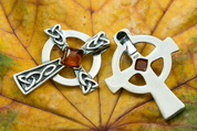CELTIC CROSS, PENDANT, SILVER, AMBER - AMBER JEWELRY