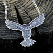 FLYING OWL, SILVER STERLING PENDANT - MYSTICA SILVER COLLECTION - PENDANTS