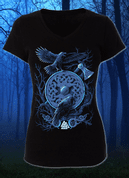 HUGINN AND MUNINN, VIKING RAVENS LADIES' T-SHIRT - PAGAN T-SHIRTS NAAV FASHION